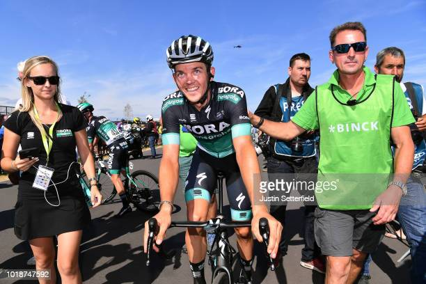 Arrival / Gregor Muhlberger of Austria and Team Bora-Hansgrohe / Celebration / during the 14th BinckBank Tour 2018, Stage 6 a 182,2km stage from...