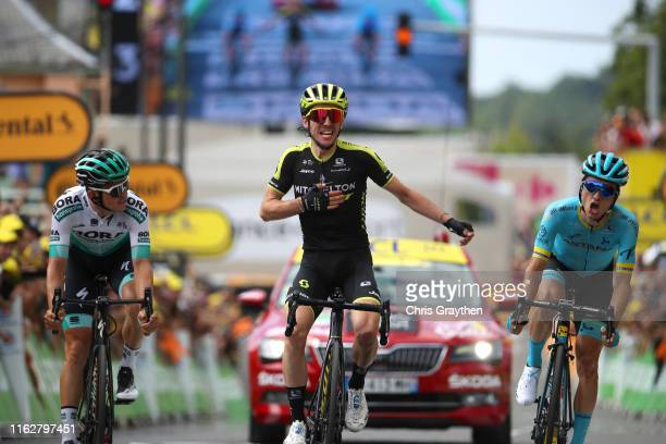 Arrival / Gregor Muhlberger of Austria and Team Bora-Hansgrohe / Simon Yates of United Kingdom and Team Mitchelton-Scott Celebration / Pello Bilbao...