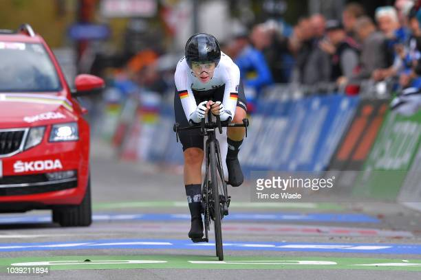 Arrival / Hannah Ludwig of Germany / during the Individual Time Trial Women Junior a 20km race from Wattens to Innsbruck 582m at the 91st UCI Road...