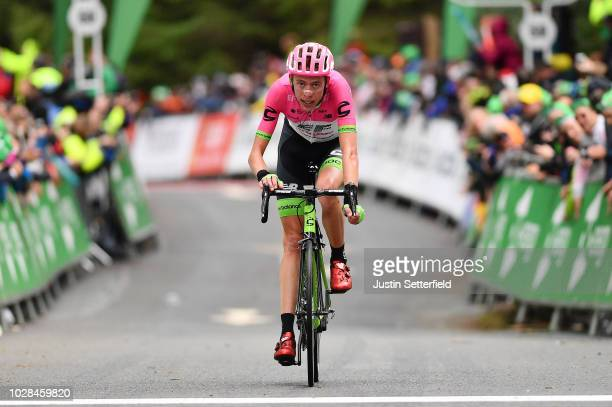 Arrival / Hugh Carthy of Great Britain and Team EF Education FirstDrapac p/b Cannondale / during the 15th Tour of Britain 2018 Stage 6 a 1683km stage...