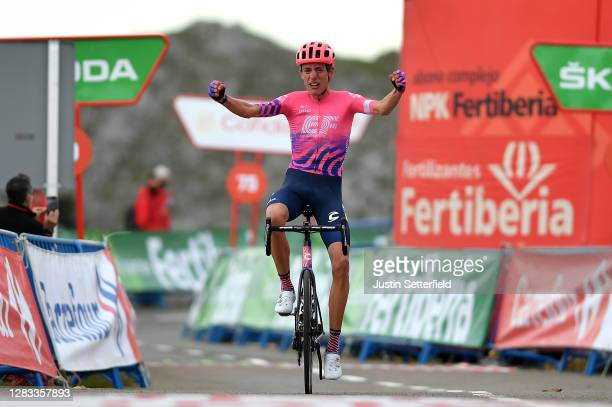 Arrival / Hugh Carthy of The United Kingdom and Team EF Pro Cycling / Celebration / during the 75th Tour of Spain 2020, Stage 12 a 109,4km stage from...