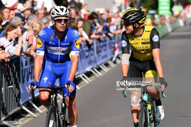 Arrival / Iljo Keisse of Belgium and Team Quick-Step Floors / Koen Bouwman of The Netherlands and Team LottoNL-Jumbo / during the 15th Tour of...