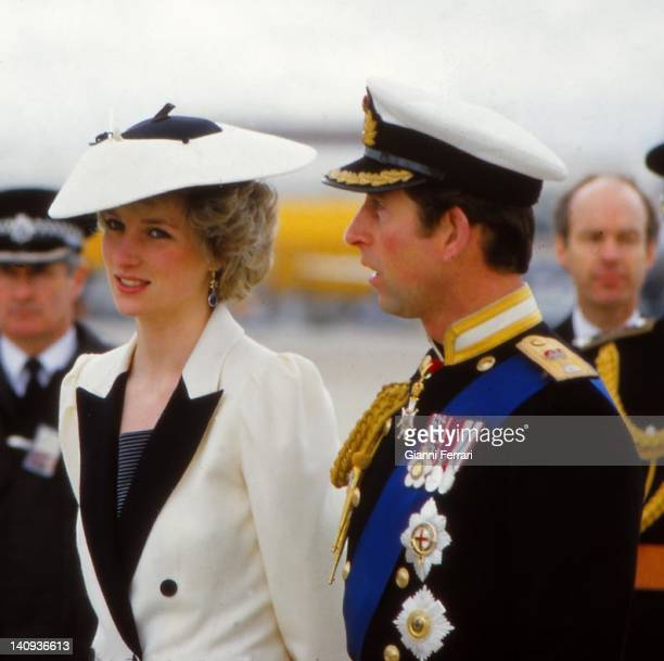 Arrival in England of the Spanish Kings received by Prince Charles and his wife Lady Diana 22nd April 1986 London England