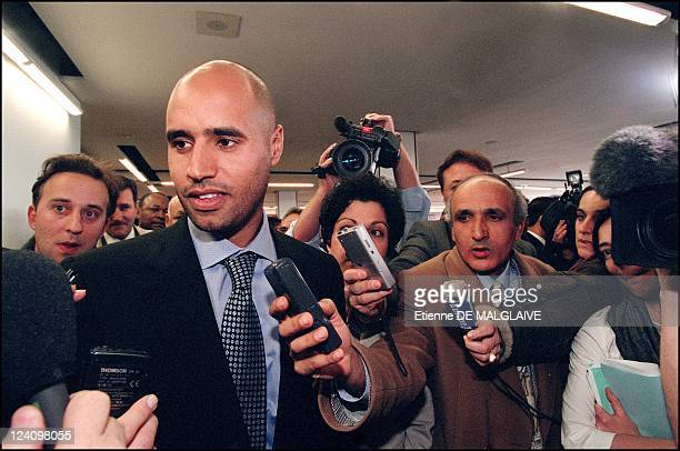 Arrival in France Seif Al Islam Gadhafi and Lybian airline resume flights between Paris and Tripoli In Orly France On February 25 2002