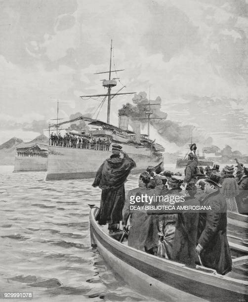 Arrival in Naples of the Oceanic crew from the expedition to China Italy drawing by Edoardo Matania from L'illustrazione Italiana Year XXIX No 6...