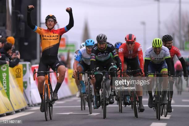 Arrival / Ivan Garcia Cortina of Spain and Team Bahrain - Mclaren / Celebration / Peter Sagan of Slovakia and Team Bora - Hansgrohe / Cees Bol of The...