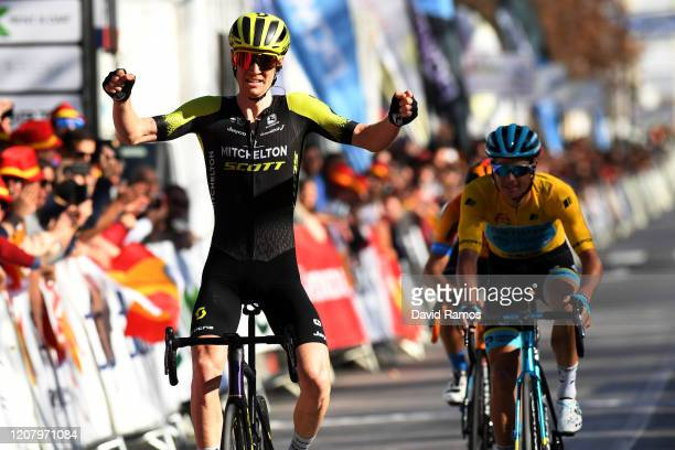 Arrival / Jack Haig of Australia and Team Mitchelton-Scott / Celebration / Jakob Fuglsang of Denmark and Astana Pro Team Yellow Leader Jersey / Mikel...