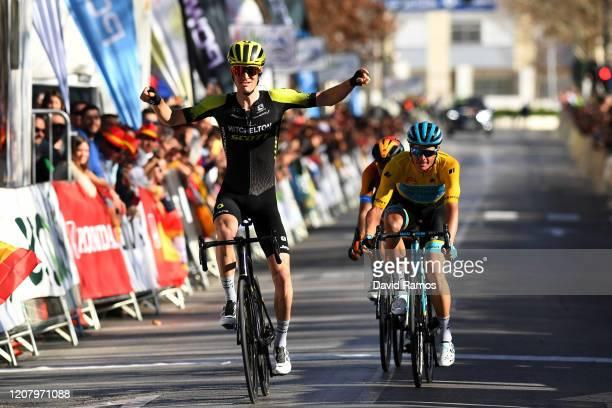 Arrival / Jack Haig of Australia and Team Mitchelton-Scott / Celebration / Jakob Fuglsang of Denmark and Astana Pro Team Yellow Leader Jersey / Mikel...