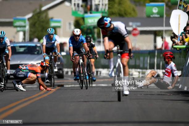 Arrival / Jacopo Mosca of Italy and Team TrekSegafredo / Marco Canola of Italy and Team NippoVini FantiniFaizane / Crash / Injury / during the 15th...