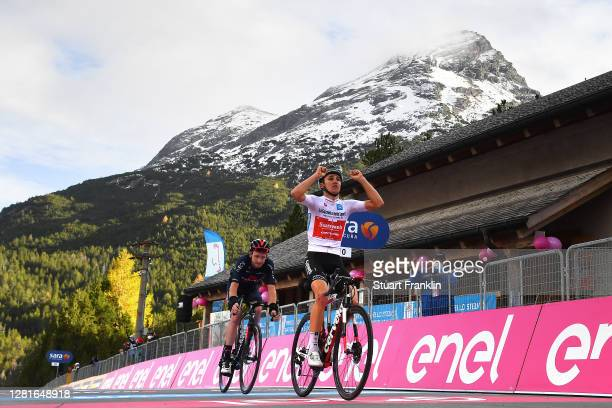 Arrival / Jai Hindley of Australia and Team Sunweb White Best Young Rider Jersey / Celebration / Tao Geoghegan Hart of The United Kingdom and Team...