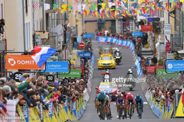 Arrival / Jakob Fuglsang of Denmark and Astana Pro Team / Alexey Lutsenko of Kazakhstan and Astana Pro Team / Thibaut Pinot of France and Team...
