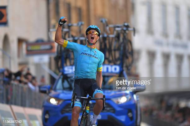 Arrival / Jakob Fuglsang of Denmark and Astana Pro Team / Celebration / during the 54th Tirreno-Adriatico 2019, Stage 5 a 180km stage from Colli al...