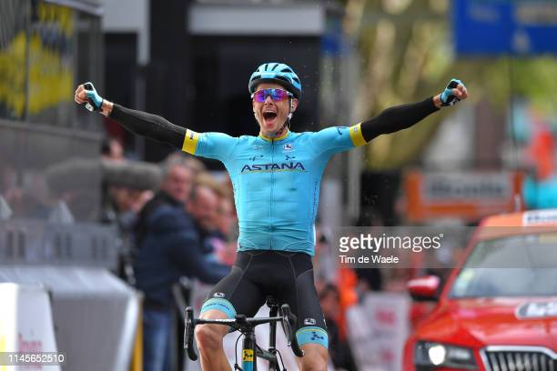 Arrival / Jakob Fuglsang of Denmark and Astana Pro Team / Celebration / during the 105th Liege Bastogne Liege 2019 a 256km race from Liege to Liege /...