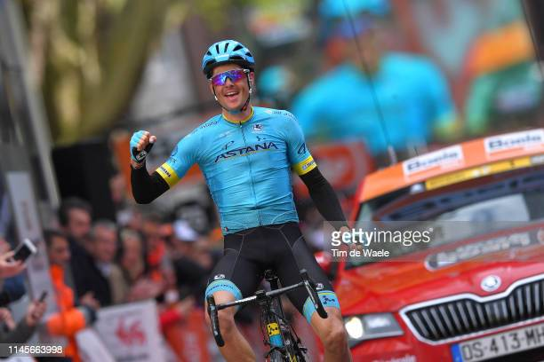 Arrival / Jakob Fuglsang of Denmark and Astana Pro Team / Celebration / Fans / Public / during the 105th Liege Bastogne Liege 2019 a 256km race from...