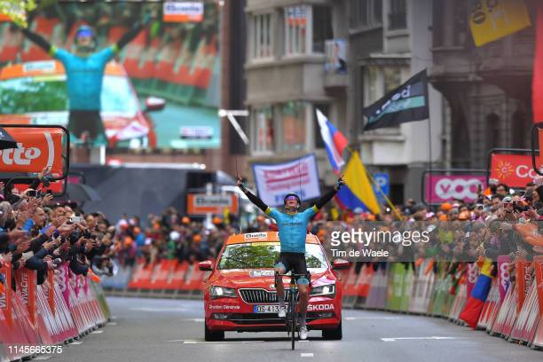 Arrival / Jakob Fuglsang of Denmark and Astana Pro Team / Celebration / Fans / Public / during the 105th Liege - Bastogne - Liege 2019 a 256km race...