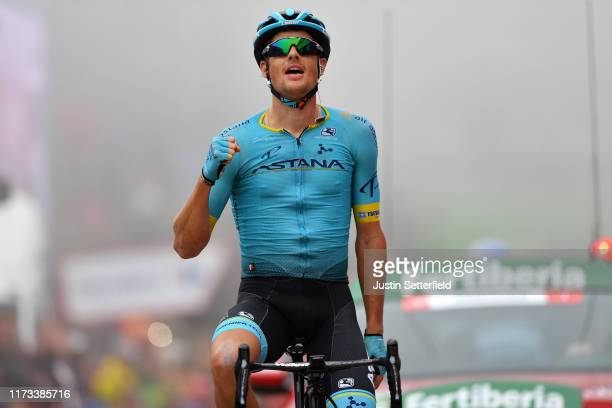Arrival / Jakob Fuglsang of Denmark and Astana Pro Team / Celebration / during the 74th Tour of Spain 2019 Stage 16 a 1444km stage from Pravia to...