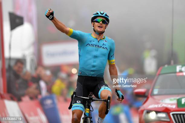 Arrival / Jakob Fuglsang of Denmark and Astana Pro Team / Celebration / during the 74th Tour of Spain 2019, Stage 16 a 144,4km stage from Pravia to...