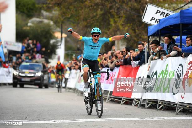 Arrival / Jakob Fuglsang of Denmark and Astana Pro Team / Celebration / Mikel Landa of Spain and Team Bahrain - McLaren / during the 66th Vuelta a...