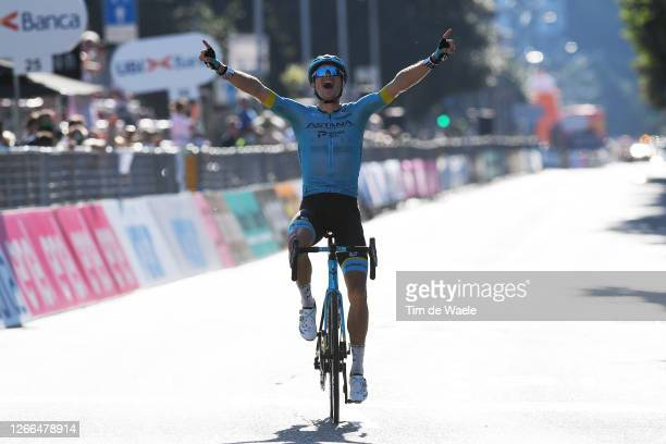 Arrival / Jakob Fuglsang of Denmark and Astana Pro Team / Celebration / during the 114th Il Lombardia 2020 a 231km race from Bergamo to Como /...