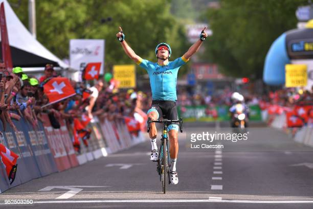 Arrival / Jakob Fuglsang of Denmark and Astana Pro Team / Celebration / during the 72nd Tour de Romandie 2018 Stage 4 a 1492km stage from Sion to...