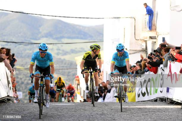 Arrival / Jakob Fuglsang of Denmark and Astana Pro Team / Jon Izaguirre Insausti of Spain and Astana Pro Team / Jack Haig of Australia and Team...