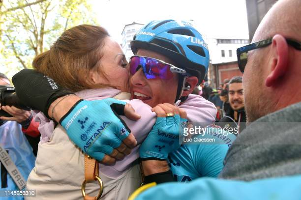 Arrival / Jakob Fuglsang of Denmark and Astana Pro Team / Loulou Fuglsang of Denmark Wife / Celebration / during the 105th Liege Bastogne Liege 2019...