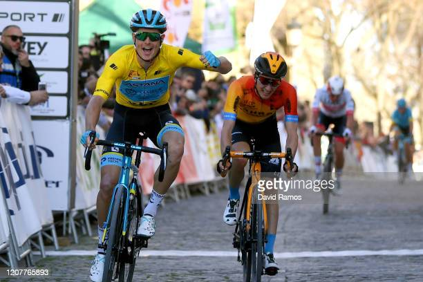 Arrival / Jakob Fuglsang of Denmark and Astana Pro Team Yellow Leader Jersey / Celebration / Pello Bilbao of Spain Team Bahrain - McLaren / Brandon...