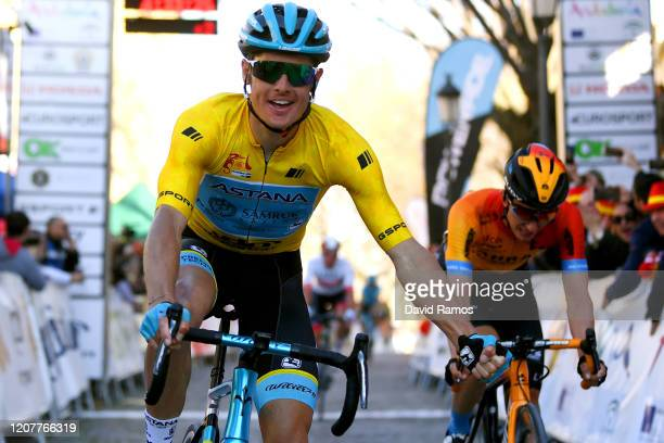 Arrival / Jakob Fuglsang of Denmark and Astana Pro Team Yellow Leader Jersey / Celebration / Pello Bilbao of Spain Team Bahrain - McLaren / during...