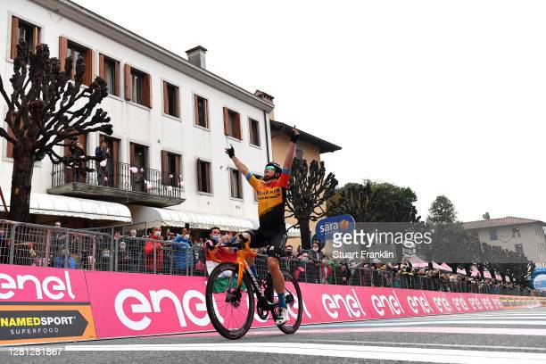 Arrival / Jan Tratnik of Slovenia and Team Bahrain - Mclaren / Celebration / during the 103rd Giro d'Italia 2020, Stage 16 a 229km stage from Udine...