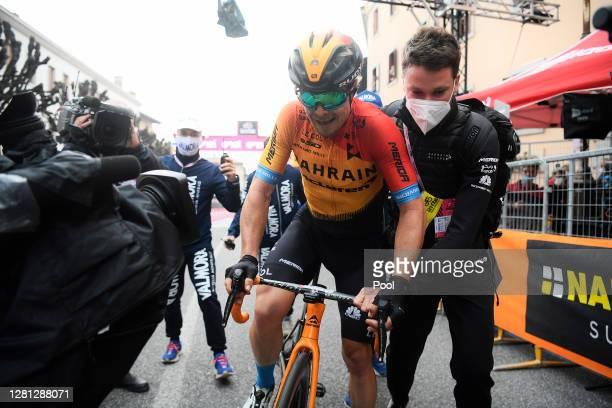 Arrival / Jan Tratnik of Slovenia and Team Bahrain - Mclaren / Soigneur / Celebration / during the 103rd Giro d'Italia 2020, Stage 16 a 229km stage...