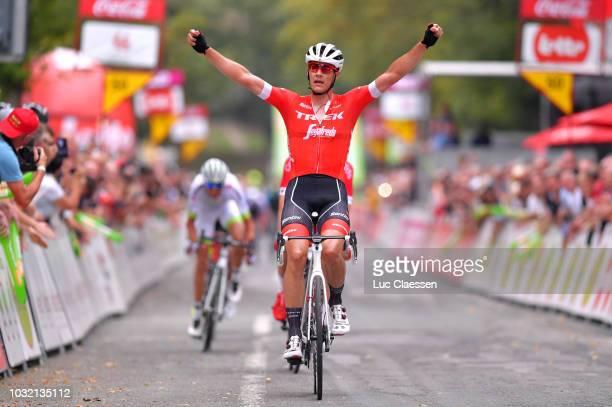Arrival / Jasper Stuyven of Belgium and Team Trek - Segafredo / Celebration / Dimitri Claeys of Belgium and Team Cofidis, Solutions Credits / Warren...