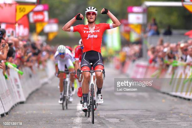 Arrival / Jasper Stuyven of Belgium and Team Trek Segafredo / Celebration / Dimitri Claeys of Belgium and Team Cofidis Solutions Credits / Warren...
