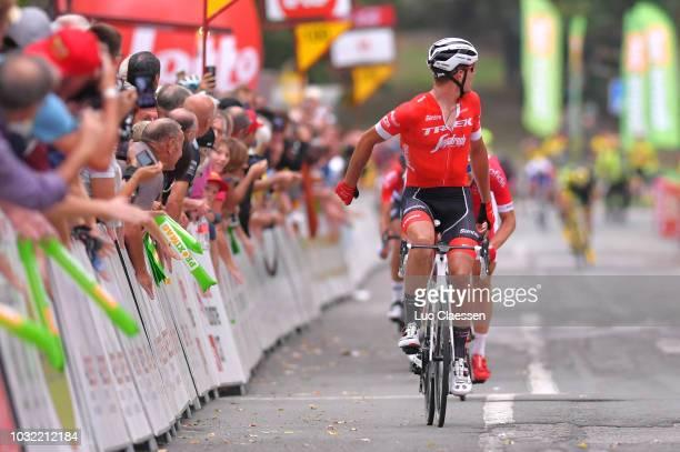 Arrival / Jasper Stuyven of Belgium and Team Trek - Segafredo / Celebration / Dimitri Claeys of Belgium and Team Cofidis, Solutions Credits / during...