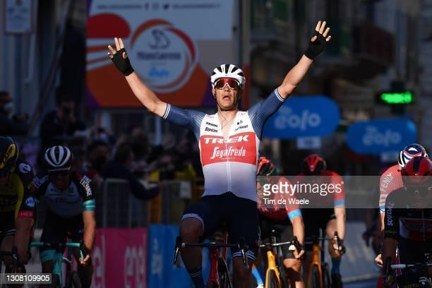 Arrival / Jasper Stuyven of Belgium and Team Trek - Segafredo Celebration, during the 112th Milano-Sanremo 2021 a 299km race from Milano to Sanremo /...