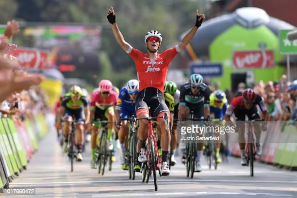 Arrival / Jasper Stuyven of Belgium and Team Trek-Segafredo Celebration / during the 14th BinckBank Tour 2018, Stage 4 a 166,3km from Blankenberge to...