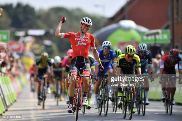 Arrival / Jasper Stuyven of Belgium and Team Trek-Segafredo Celebration / Caleb Ewan of Australia and Team Mitchelton - Scott / during the 14th...