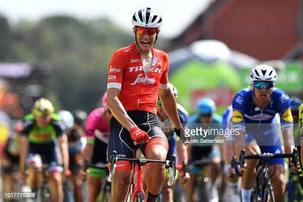 Arrival / Jasper Stuyven of Belgium and Team Trek-Segafredo Celebration / Zdenek Stybar of Czech Republic and Team Quick Step Floors / during the...