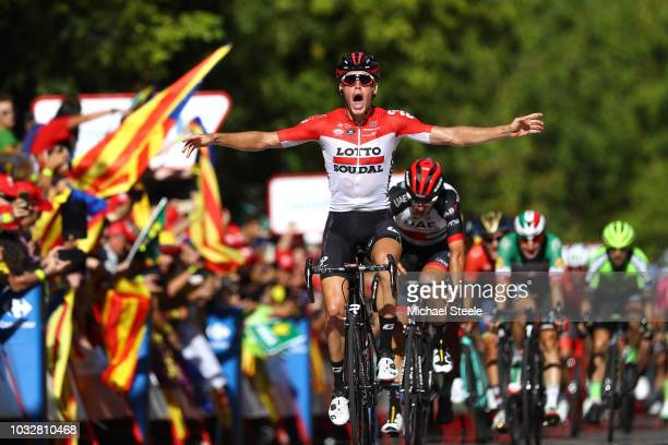 Arrival / Jelle Wallays of Belgium and Team Lotto Soudal / Celebration / Sven Erik Bustrom of Norway and UAE Team Emirates / Peter Sagan of Slovakia...