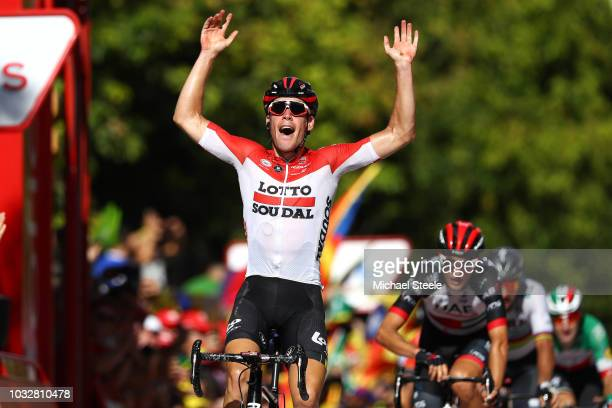 Arrival / Jelle Wallays of Belgium and Team Lotto Soudal / Celebration / Sven Erik Bustrom of Norway and UAE Team Emirates /during the 73rd Tour of...