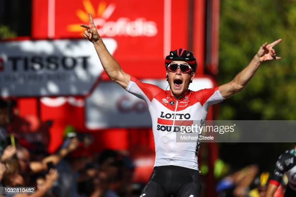 Arrival / Jelle Wallays of Belgium and Team Lotto Soudal / Celebration / during the 73rd Tour of Spain 2018 Stage18 a 1861km stage from Ejea de los...