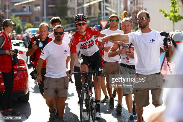 Arrival / Jelle Wallays of Belgium and Team Lotto Soudal / Celebration / during the 73rd Tour of Spain 2018, Stage18 a 186,1km stage from Ejea de los...