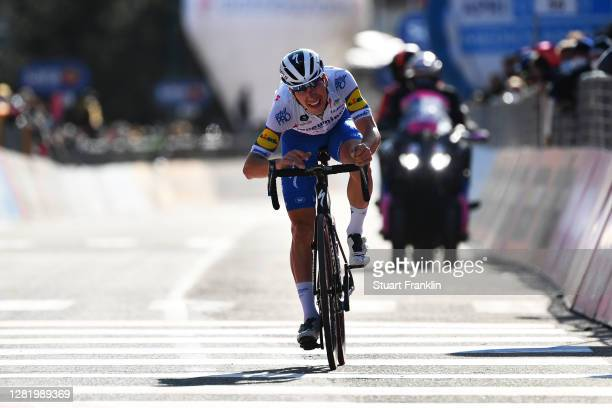 Arrival / Joao Almeida of Portugal and Team Deceuninck - Quick-Step / during the 103rd Giro d'Italia 2020, Stage 20 a 190km stage from Alba to...