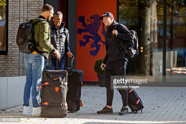 Arrival Joel Drommel of Holland U21 Denzel Dumfries of Holland U21 Rick van Drongelen of Holland U21 during the match between Arrival Holland U21 at...