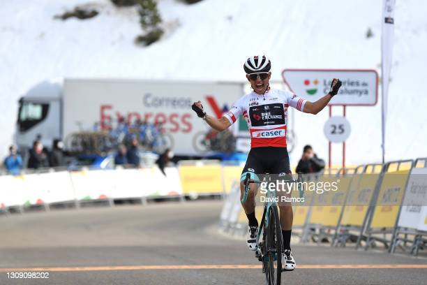 Arrival / Johan Esteban Chaves Rubio of Colombia and Team BikeExchange Red Mountain Jersey Celebration, during the 100th Volta Ciclista a Catalunya...