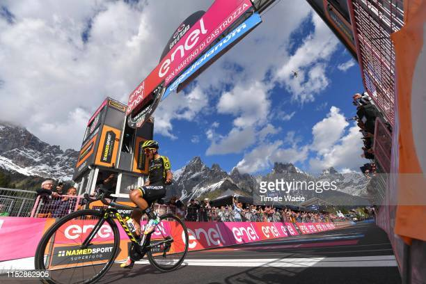 Arrival / Johan Esteban Chaves Rubio of Colombia and Team Mitchelton Scott / Celebration / San Martino di Castrozza / Landscape / Mountains / Snow /...