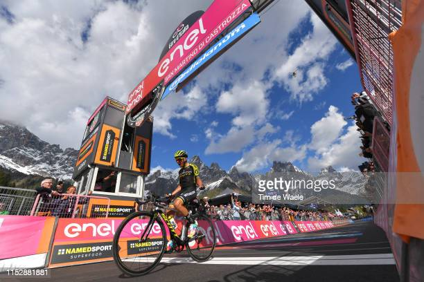 Arrival / Johan Esteban Chaves Rubio of Colombia and Team Mitchelton - Scott / Celebration / San Martino di Castrozza / Landscape / Mountains / Snow...