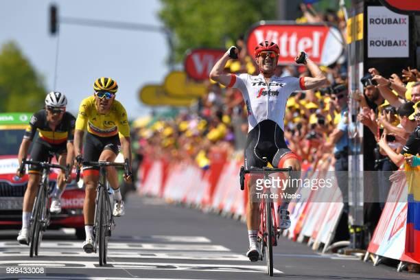Arrival / John Degenkolb of Germany and Team Trek Segafredo Celebration / / Greg Van Avermaet of Belgium and BMC Racing Team Yellow Leader Jersey /...