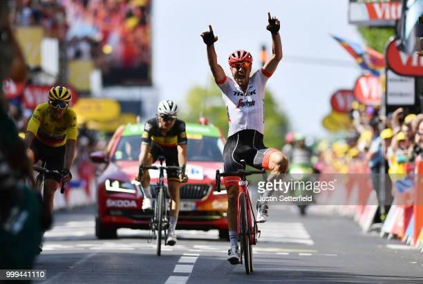 Arrival / John Degenkolb of Germany and Team Trek Segafredo / Celebration / Greg Van Avermaet of Belgium and BMC Racing Team Yellow Leader Jersey /...