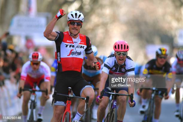 Arrival / John Degenkolb of Germany and Team Trek-Segafredo / Celebration / Simon Clarke of Australia and Team EF Education First White Sprint Jersey...