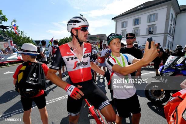 Arrival / John Degenkolb of Germany and Team TrekSegafredo / Children / Fans / Selfie / during the 83rd Tour of Switzerland Stage 5 a 177km stage...